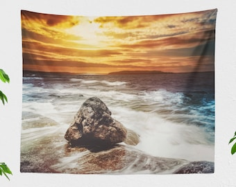 Colorful Ocean Sunset Tapestry, seaside dorm wall tapestry, nautical bedroom decor, large beach living room wall art