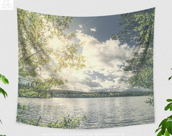 Lake Scenery Wall Tapestry, living room wanderlust wall decor, large nature dorm and bedroom wall hanging, landscape wall art