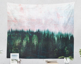 Rugged Forest Wall Tapestry, large dorm nature art, wanderlust living room and bedroom wall hanging and wall decor