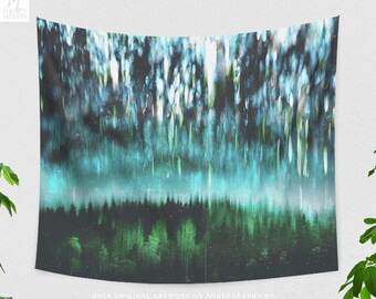 Nature Art Tapestry, abstract forest tapestry, artsy dorm and bedroom and living room decor making a unique statement.