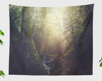 Enchanted Forest Tapestry, nature wall tapestry, large wall art and living room decor making a statement. dorm and bedroom decor