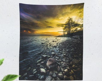 Tall Colorful Nature Tapestry, ocean wall tapestry, wanderlust wall decor making a unique dorm and home decor statement. Vertical backdrop.