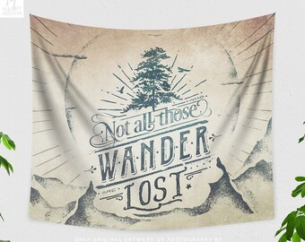 Wanderlust Quote Tapestry, adventure dorm wall hanging, large free spirit bedroom wall decor, boho living room decor