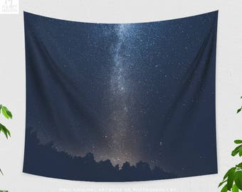 Starry Tapestry, nature tapestry and wanderlust dorm and bedroom decor, boho living room decor making a statement. Milky way photo.