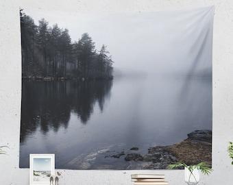 Tranquil Lake Tapestry, wanderlust dorm wall hanging, nature landscape living room decor, serene bedroom wall decor