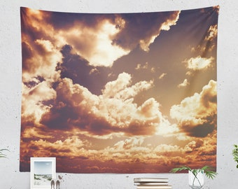 Epic Clouds Wall Tapestry, dreamy sky wall hanging, large dorm wall deccor, colorful living room wall art, magical bedroom tapestry