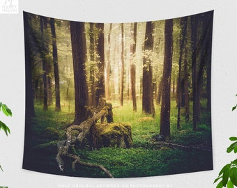 Golden Forest Tapestry, nature tapestry, colorful and large wall art, boho living room decor making a statement. dorm and bedroom decor.