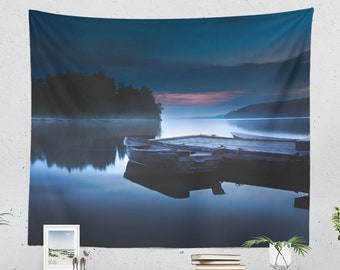 Misty Ocean Wall Tapestry, tranquil lake wall hanging, large blue dorm and bedroom wall decor, wanderlust and boho living room decor.