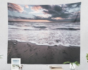 Ocean Wave Tapestry, a nautical tapestry and large wall art making a dreamy living room decor statement. dorm and bedroom decor.