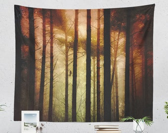 Moody Forest Tapestry, enchanted woods tapestries, large wall art, dorm and bedroom room decor and living room decor making a statement,