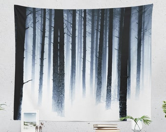 Winter Forest Wall Tapestry, modern nature bedroom wall hanging, trees in snow dorm and living room wall decor and wall art