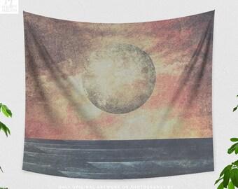 Abstract Moon Wall Tapestry, boho dorm wall hanging,artsy bedroom wall decor, large living room decor