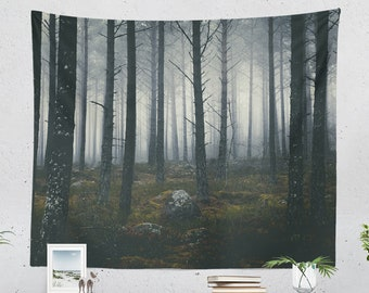 Spooky Forest Tapestry, nature tapestry, large wall art, boho living room decor making a statement. Dorm and bedroom wall hanging.