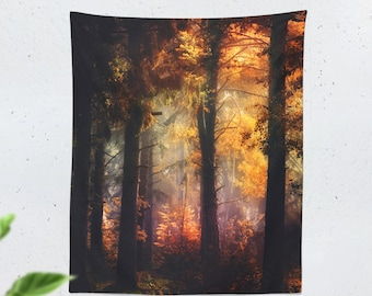 Colorful Forest Tapestry, nature dorm wall tapestry, bedroom and living room wall decor and wall hanging. Vertical tapestry.