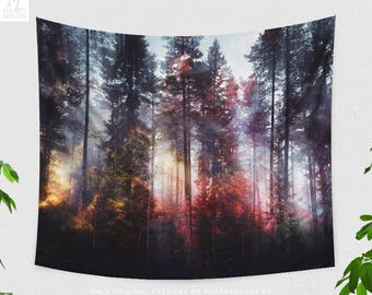 Colorful Forest Tapestry, nature tapestry, large wall art and wanderlust living room decor making a statement. dorm and bedroom decor