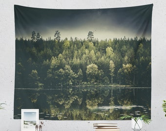 Evergreen Forest Tapestry, magical dorm wall hanging, large wanderlust woods wall decor, boho living room decor, tranquil bedroom wall art