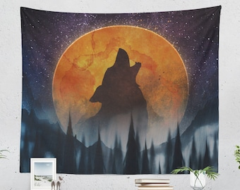 Wanderlust Tapestry, wolf wall tapestry and dorm wall hanging, large nature wall art making a moonchild bedroom and livingroom decor theme