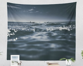 Ocean Tapestry, dreamy dorm wall hanging, sea and sailing wall decor, nautical bedroom and living room decor