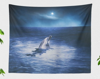 Dolphin Wall Tapestry, animal tapestry, large wall decor and wall art making a unique dorm and bedroom room or living room decor statement.
