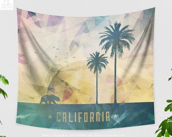 California Art Tapestry, california state tapestry, colorful dorm and bedroom decor and boho living room decor making a statement.