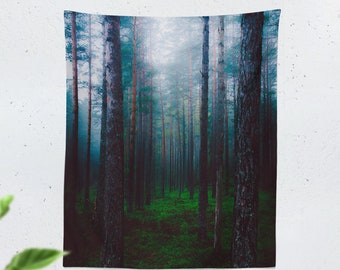 Tall Forest Tapestry, enchanted woods wall hanging, wanderlust dorm wall decor, large mystic nature bedroom wall tapestry