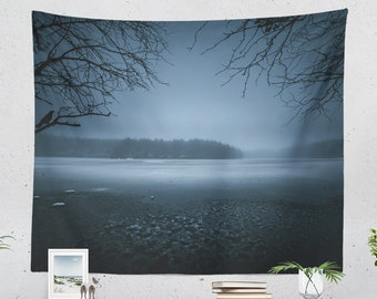 Moody Wall Tapestry, mystical living room wall hanging, lake and nature dorm tapestry, moody landscape bedroom wall decor and wall art