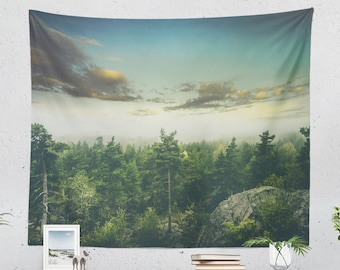 Misty Nature Tapestry, forest wall tapestry, wanderlust dorm and living room wall hanging, landscape bedroom wall decor and wall art.
