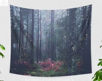 Dreamy Fog Forest Tapestry, nature tapestry and large wall art making a boho living room decor statement. dorm and bedroom decor.