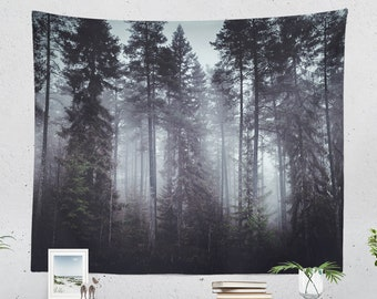 Foggy Forest Tapestry, dark woods wall hanging, large dorm wall decor, mystic woods living room wall art, serene bedroom decor