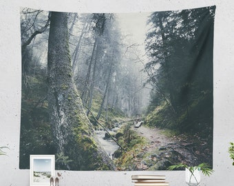 Magical Woods Wall Tapestry, bedroom forest wall decor, nature living room wall hanging, large wanderlust dorm wall art