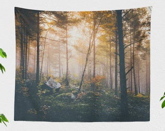 Magical Forest Tapestry, dreamy dorm wall hanging, amazing woods wall decor, large boho and woodland living room decor, calming bedroom art