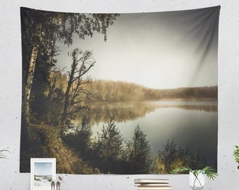 Tranquil Lake Tapestry, serene nature wall hanging, large dorm wall tapestry, scenic landscape wall decor, boho living room and bedroom art