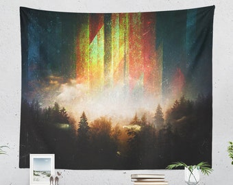 Nature Art Wall Tapestry, magical forest tapestry, woodland wall decor and living room decor, large wall art and dorm and bedroom decor,