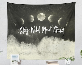 Moon Child Tapestry, dorm boho art wall hanging, spiritual bedroom wall decor, moon phases living room decor and wall art.