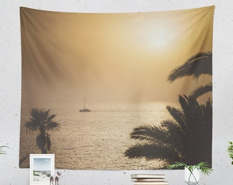 Caribbean Sunset Wall Tapestry, palm trees tapestry, large wall art, photography back drop, dorm decor and home decor making a statement.