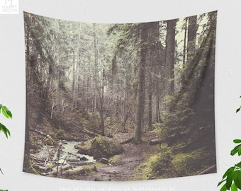 Wanderlust Trail Tapestry, large dorm wall tapestry, wanderlust living room wall hanging, large forest bedroom wall decor