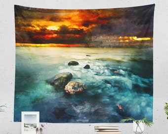 Colorful Ocean Wall Tapestry, nature art tapestry, bedroom wall decor, dorm and living room wall hanging.