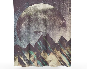 Mountain Art Shower Curtain Abstract Bathroom Boho Decor Dorm And Unique Home Making A Statement