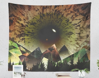 Artsy Nature Tapestry, abstract dorm wall tapestry, trippy living room and bedroomwall hanging.