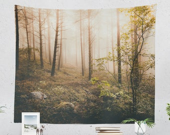 Foggy Golden Woods Tapestry, enchanted woods dorm wall hanging, spiritual nature living room wall decor, wanderlust bedroom decor