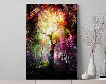 Magical Tree Canvas Art, abstract and colorful living room wall art and wall decor, ready to hang canvas, modern and unique office artwork