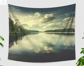 Cloudy Lake Tapestry, nature tapestry, dorm and bedroom and wanderlust living room decor making a statement.
