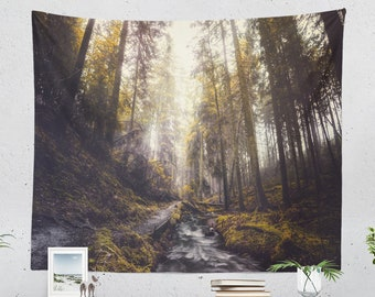 Evergreen Forest Tapestry, adventure dorm wall hanging, dreamy woods wall decor, large bedroom and living room wall art