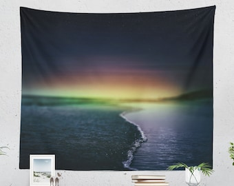 Magical Sunset Tapestry, beach wall tapestry, large ocean wall decor and wall art, colorful dorm room and bedroom wall hanging.