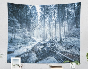 Winter Forest Wall Tapestry, woods tapestry, nature dorm and bedroom wall hanging, large adventure living room wall decor and wall art