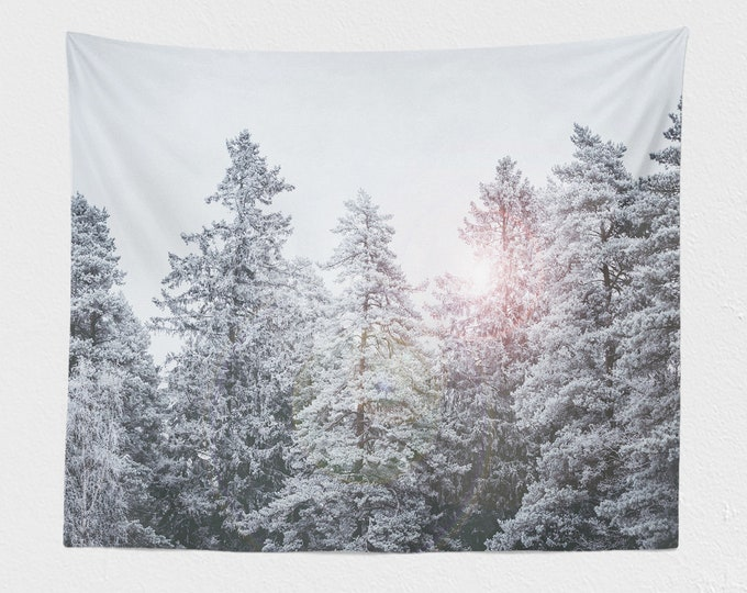 Featured listing image: Pine Forest Tapestry, winter dorm wall hanging, large nature living room and bedroom wall decor and wall art