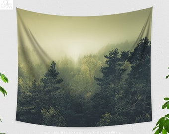 Epic Forest Tapestry, evergreen dorm wall hanging, large wanderlust bedroom wall decor, boho living room decor