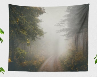 Dreamy Forest Tapestry, mystical dorm wall decor, misty forest road wall hanging, tranquil living room and bedroom wall art