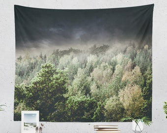 Wanderlust Forest Tapestry, bedroom nature wall hanging, large dorm woodland wall decor, serene landscape living room wall art