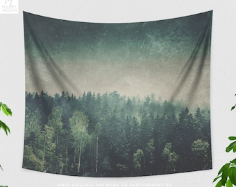 Dark Forest Tapestry, artsy dorm nature wall decor, large moody woods wall hanging, boho living room decor, woodland bedroom decor.